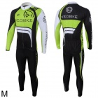 Veobike Ghost Men's Cycling Long Sleeves Sweat Suit - Black + Green + White (Size M)