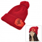 Stylish Knitting Wool Hat w/ Love Heart Decoration - Red