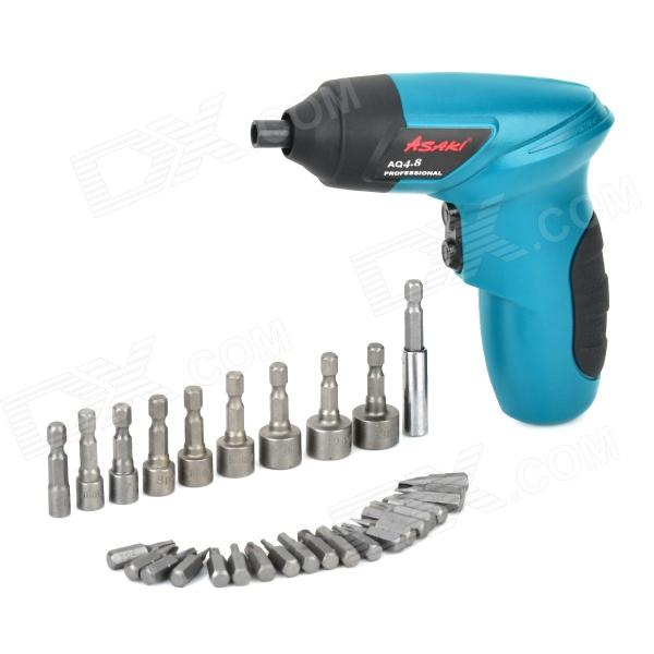 ASAKI AQ4.8 Home Rechargeable Electric Screwdriver w/ 30 Adapters - Blue + Black dmiotech 20 pcs spare part spring type electric drill motor carbon brushes 10mm 11mm 13mm 17mm 6mm 7 5mm 7mm