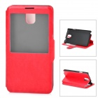 Protective PU Leather Case w/ Display Window for Samsung Galaxy Note 3 - Red