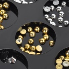 DIY 12- Component Half Round + Cone Shape Acrylic Nail Art Decoration - Golden + Silver
