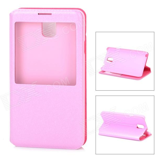 Protective PU Leather Case w/ Display Window for Samsung Galaxy Note 3 / N7200 - Pink protective flip open pu leather case w display window stand for samsung note 3 n7200 white