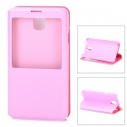Protective PU Leather Case w/ Display Window for Samsung Galaxy Note 3 / N7200 - Pink
