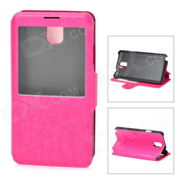Stylish Flip-Open PU Leather Smart Case for Samsung Galaxy Note 3 - Deep Pink metal ring holder combo phone bag luxury shockproof case for samsung galaxy note 8