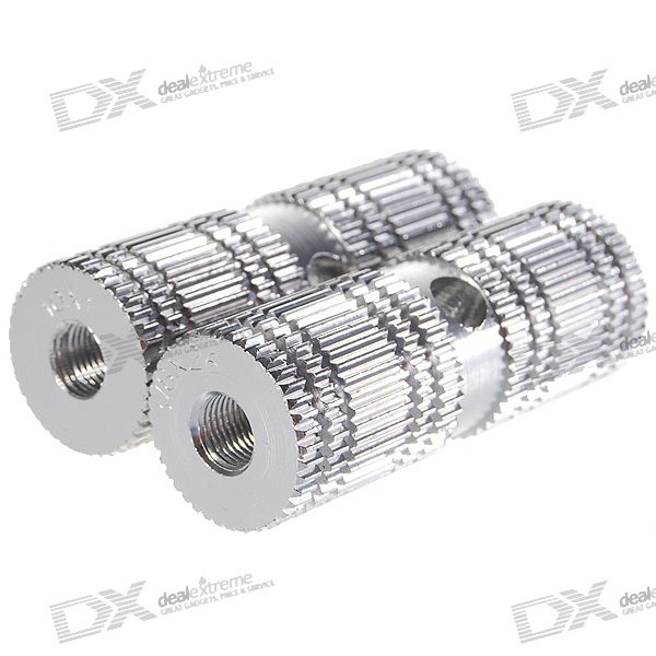 Aluminum Anti-slip Solid Bicycle Axle Foot Pegs (Pair / Silver)