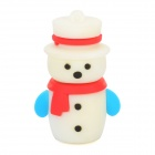 Christmas Snowman Style Silicone USB 2.0 Flash Drive - White + Red (8GB)