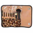 9-in-1 Poratble Make Up Brushes w/ Carrying Bag - Black + Yellow