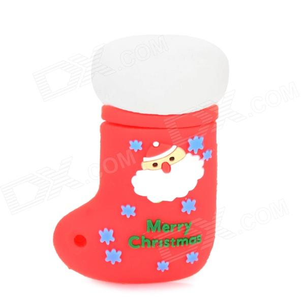 Christmas Shoe Style Silicone USB 2.0 Flash Drive - Red + White (8 GB)