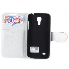 PUDINI Crystal Inlaid Tower Decoration Flip-open PU Case w/ Holder + Card Slot for Samsung S4 Mini