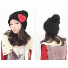 M219-1443 Casual Heart Pattern Wool Hat for Women - Black + Red