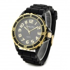 Genius First ZH3111 Zinc Alloy Case Silicone Band Quartz Analog Wrist Watch - Black (1 x SR6265W)