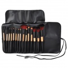 15-in-1 15-in-1 Portable Beauty Cosmetic Makeup Brush Set w/ Black Bag - Yellow + Black