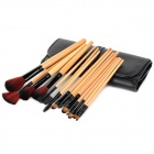 15-in-1 15-in-1 Portable Beauty Cosmetic Makeup Brush Set w / Negro Bolsa - Amarillo + Negro
