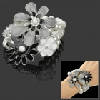 Stylish Flower Pattern Three Layer Pearls Bracelet for Women - White + Black + Grey