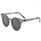 Mesh Style UV400 Protection Zinc Alloy Frame Resin Lens Sunglasses for Women - Black