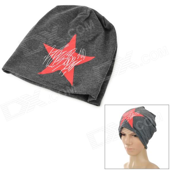 M409 Fashion Star Pattern Casual Cotton Hat - Deep Grey + Red