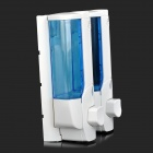 Hanging Dual-Head Liquid Hand Soap Shampoo Box Dispenser - White + Translucent Blue