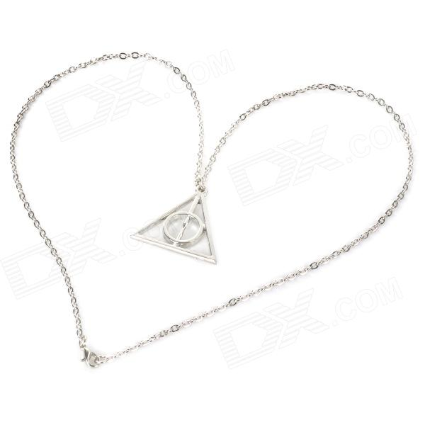 Fashion Triangle Style Pendant Zinc Alloy Necklace - Silver