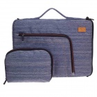 "Tee 14"" Shock-Proof Water Resistant One-shoulder Sleeves Bag for Notebook w/ Handle - Blue + White"