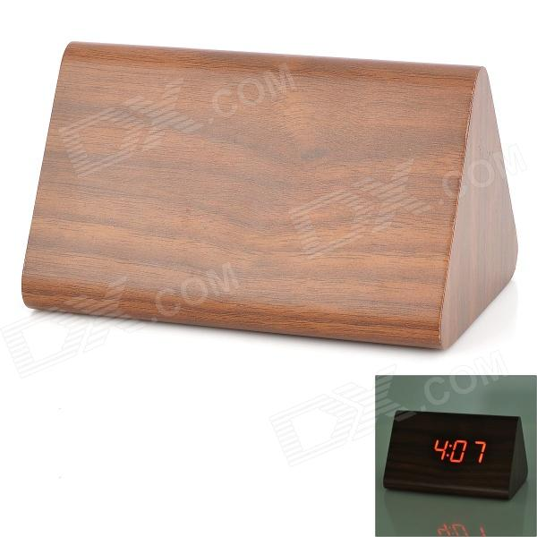 828 Wood Voice Control Red Backlight LED Alarm Clock - Brown