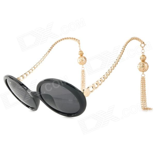 Tassel Style Women's UV400 Protection Zinc Alloy Frame PC Lens Sunglasses - Black + Golden (Pair) 50mm edf a10 warthog rc airplane model kit w 870mm wing span