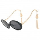 Tassel Style Women's UV400 Protection Zinc Alloy Frame PC Lens Sunglasses - Black + Golden (Pair)