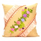 No.2 Silk Ribbon Rose Embroidery Pillow - Light Yellow