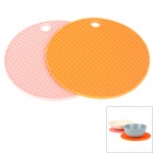 Round Shaped Silicone Anti-Slip Heat Resistant Pad Mat - Orange + Pink (2 PCS)