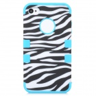 3-in-1 Zebra Pattern Protective PC + Silicone Back Case for Iphone 4 / 4S - White + Black + Blue