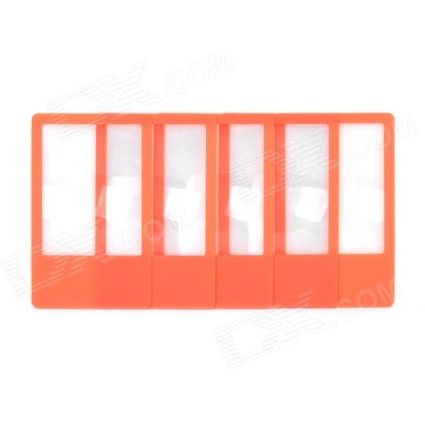 ZCX ZCX001 PVC Bookmark Ultra-Slim 3X Magnifiers - Orange + Transparent (5 PCS) full page bookmark magnifier