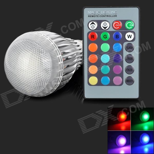 B22 9W 9W 150lm RGB Light LED Bulb w/ Remote Control - Silver + White (85~265V) jr led e27 10w 500lm led rgb light bulb w remote control white silver ac 85 265v