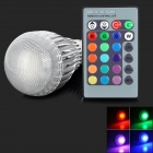 B22 9W 9W 150lm RGB Light LED Bulb w/ Remote Control - Silver + White (85~265V)