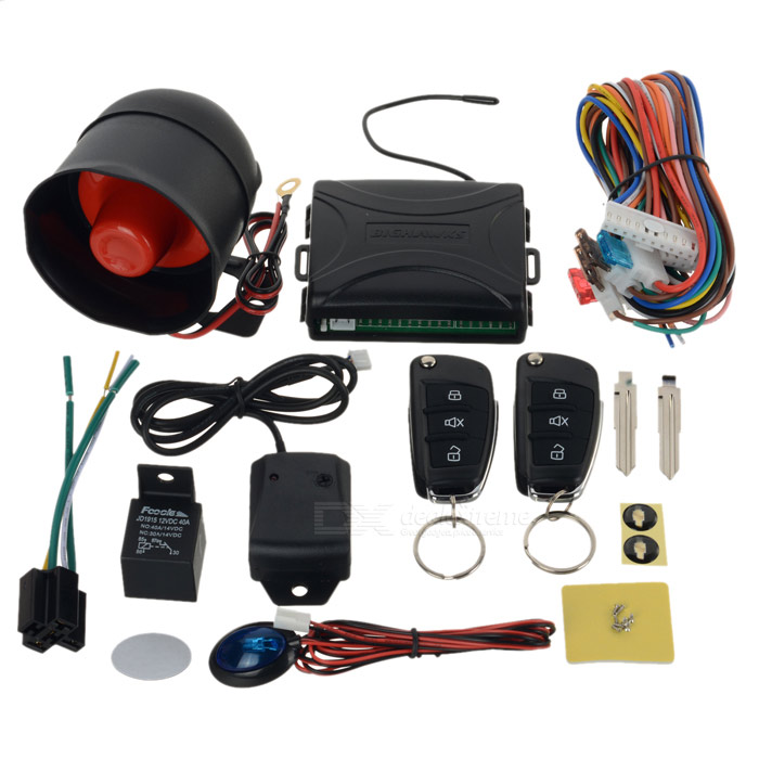 HAWKS 802 Universal Car Alarm System w/ Remote Controller Set - BlackCar Alarm Systems<br>Model802Quantity1MaterialABSForm  ColorBlackTransmit Frequency315~316Quiescent Current10Transmit Current3Speaker PowerNRemote Control RangeNPacking List1 x Main machine (10cm)1 x Speaker (35cm)2 x Remote control (1 x CR2016 included)1 x Relay1 x Sensor (145cm)2 x Cables (70cm, 40cm)1 x Indicator (75cm)2 x Double sided tape4 x Straps2 x Screws2 x 48mm key pads6 x Small screws1 x English manual<br>
