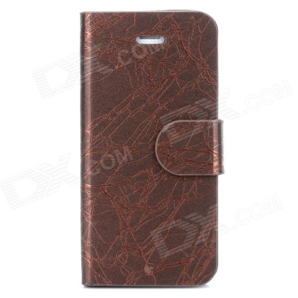 Protective PU Leather Case for Iphone 5 - Deep Coffee flower show protective pu case w stand for nokia n920 deep coffee
