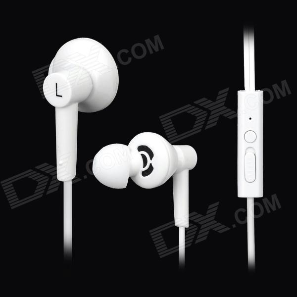 Hiput is-3 Super Bass In-Ear Earphones w/ Microphone for Iphone - White (3.5mm Plug / 1.2m) unt 28 retractable in ear earphones for iphone cellphone more white 3 5mm plug 120cm cable