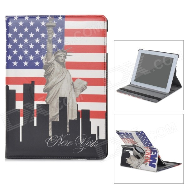 22030114M Rotatable Statue of Liberty Pattern PU Leather Case for Ipad 2 / 3 / 4 - Multicolored ipad 4 in 1 photo lens