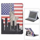 22030114M Rotatable Statue of Liberty Pattern PU Leather Case for Ipad 2 / 3 / 4 - Multicolored