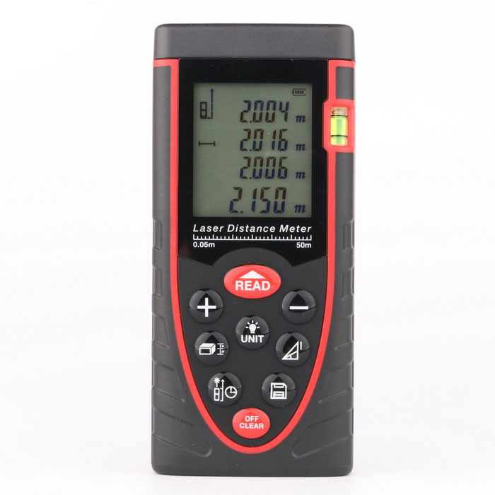 RZ50 Digital 1.9 LCD Laser Rangefinder Distance Meter - Black + Red (3 x AAA) kaman mk 60 1 8 lcd handheld laser distance meter rangefinder black red multi colored
