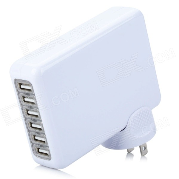 Adaptador de corriente USB de 5V 7A 6-Port + 2 pines planos del adaptador de enchufe para Iphone 5 / Ipad MINI - Blanco