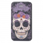Skull Pattern Protective PU Leather Flip Open Case w/ Stand for Iphone 4 - Multicolored