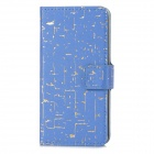 A-443 ProtectiVE PU Leather Flip Open Case w/ Stand / Card Slots for Iphone 5C -Blue