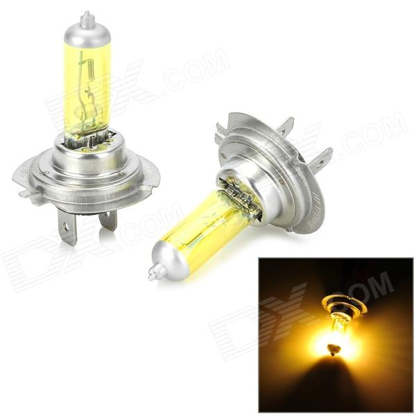 H7 12V 100W 550LM Yellow Light Halogen Lamp for Car - Silver + Yellow (2 CPS)