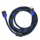 SOUND FRIEND Gold-Plated HDMI Male to Male Connection Nylon Cable - Black + Blue (3m)
