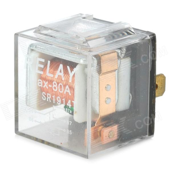 12V 80A 5-flat-pin-plug Relay for Vehicle - Transparent + Silver + Black jtron 4 pin power relay black 12v 30a