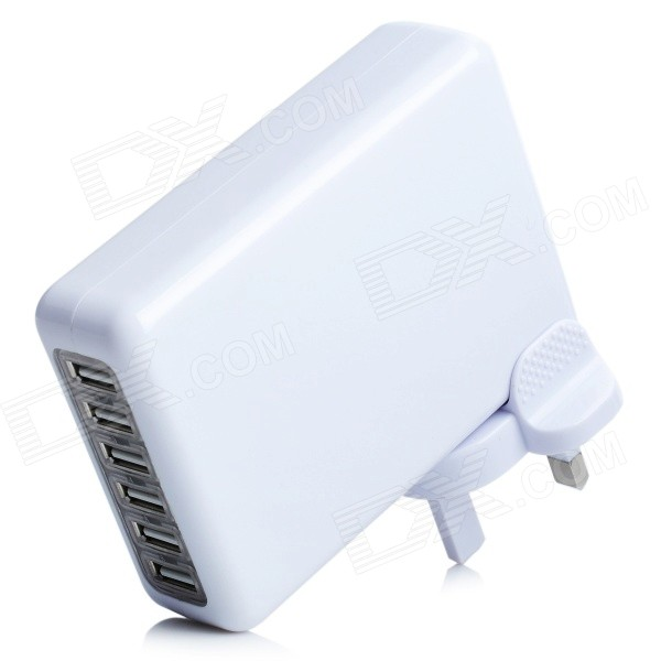 5V 7A 6-Port USB Power Adapter + UK Plug Adapter Set for Iphone 5 / Ipad MINI - White