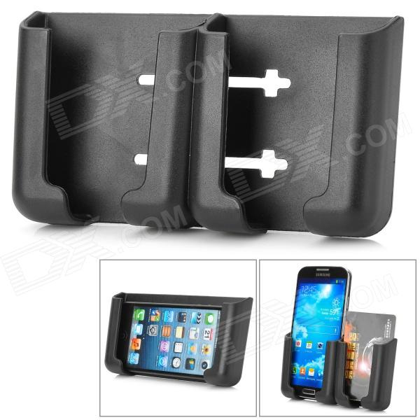 Convenient 3M Adhesive Tape Car Mounted PVC Holder for Cellphone / GPS / Card - Black