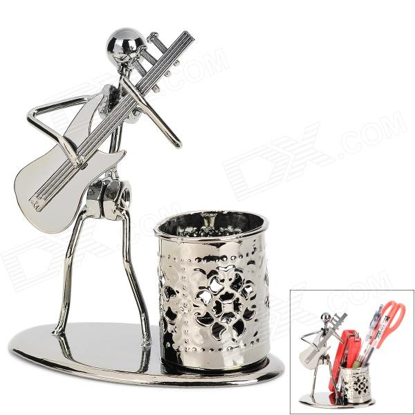 цены на Creative Handcraft Iron Wire Guitar Player Model Pen Container - Iron Grey в интернет-магазинах