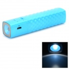 T819 Checked Style External 2600mAh Power Battery Charger w/ LED Flashlight for Iphone / Ipod - Blue