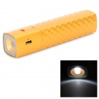 T819 Checked Style External 2600mAh Battery Charger w/ LED Flashlight for Iphone / Ipod - Golden