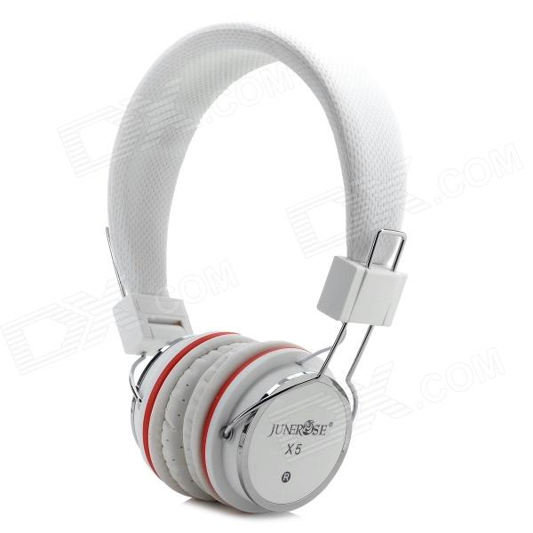 JuneRose JR-X5 Stereo Headset w/ Microphone - White